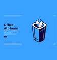 landing page home office with trash can vector image