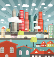 Landscape - Town or City with Cars and Houses in vector image vector image
