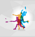 modern badminton players in action logo vector image