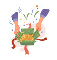 opening presents with confetti holiday gifts vector image vector image