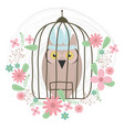 owl bird with feathers hat and floral decoration vector image