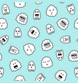 pattern with black and white funny doodle ghosts vector image vector image