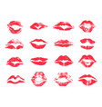 red female lips print lipstick mark set vector image vector image