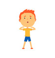 redhead boy doing sport exercise kids physical vector image vector image