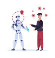 robot curing ill person artificial intelligence vector image vector image