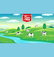 rural landscape with cows in meadow farm milk vector image vector image