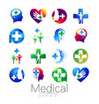 set of medical sign with cross inside vector image vector image
