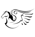 Silhouette of Pegasus vector image vector image