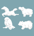 silhouettes clouds in shape animals in vector image