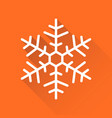 snowflake icon in flat style isolated on orange vector image vector image