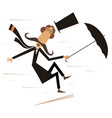 strong wind mustache man and umbrella vector image vector image
