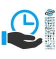 Time Service Hand Flat Icon With Bonus vector image