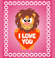 valentines day background card with lion vector image vector image