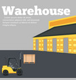 warehouse banner with forklift truck vector image vector image