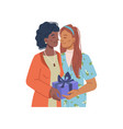 women in love giving getting present gift in box vector image vector image