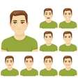 Young man expression set vector image vector image