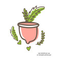 zero waste menstrual cup with leaves isolated vector image