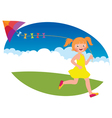 Child girl with a kite runs vector image