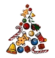Christmas colored toy set vector image