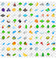 100 ecology icons set isometric 3d style vector image