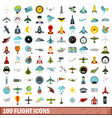 100 flight icons set flat style vector image vector image