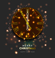 2020 new year shiny gold clock five minutes to vector image