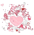 Abstract contour shape with hearts vector image