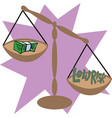 balance scale with cash money low risk concept vector image vector image