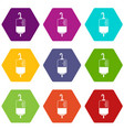 blood donation icon set color hexahedron vector image vector image