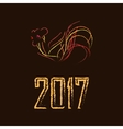 bright fire rooster on a brown background vector image vector image