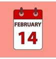 Calendar 14 february vector image vector image