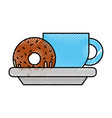 coffee cup and sweet donut tasty food vector image