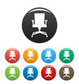 computer armchair icons set color vector image vector image