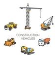 construction vehicles cartoon vector image vector image