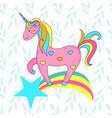 cute card with a cartoon unicorn on a rainbow with vector image vector image