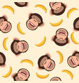cute chimpanzee head with banana pattern vector image