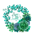 Cute succulent wreath vector image