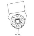 donut or doughnut cartoon character holding empty vector image