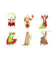 flat set fantasy wizards from children vector image