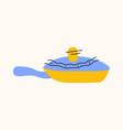 frying pan cartoon doodle stock icon in flat vector image vector image