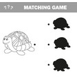 funny turtle - shadow educational kids game vector image vector image