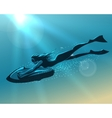 Girl driving underwater scooter vector image vector image