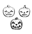 Halloween symbols pumpkin set vector image