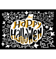 Happy Halloween lettering composition in pumpkin vector image vector image