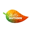 Hello autumn leaf with colorful geometrical vector image vector image