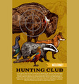 hunting club wild animals and birds poster vector image vector image