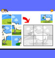 jigsaw puzzles with goat farm animal character vector image vector image