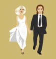 just married young couple holding hands together vector image