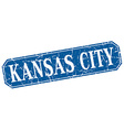 Kansas City blue square grunge retro style sign vector image vector image