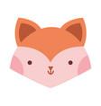little fox head animal cartoon icon vector image vector image